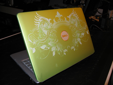 Green Dell laser etched laptop